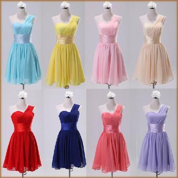 Fashion Women'S One Shoulder Short Bridesmaid Dress Knee Length Chiffon Party Dress Drop Shipping PD0013