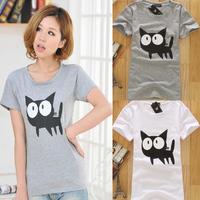 New 2014 Fashion T-shirt Women Summer Cute Cartoon Cat Print Short Sleeve O-neck Slim T Shirt Cotton Tops Tees Plus Size T-shirt