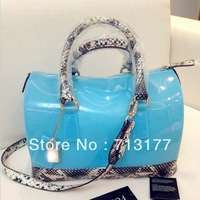 2013 transparent jelly candy handbag snake pattern leather  bag for women