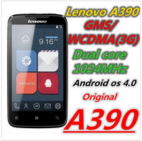 Free shipping in stock original lenovo A390  russian menu android 4.0 MTK6577 Dual core RAM512+ROM4GB Dual SIM card phone