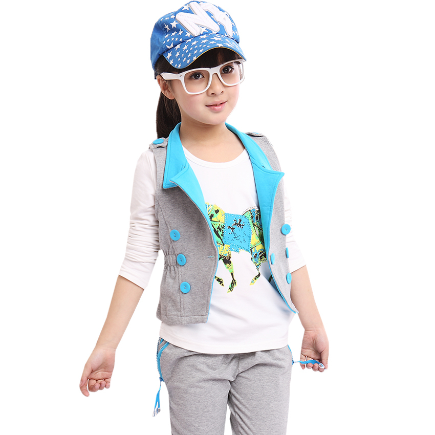 2014 New children clothing kids Clothes Set Vest+ Long Sleeve Horse Pattern T-shirt+ Zipper Pant ,Girls Sports Suit 3 pieces(China (Mainland))