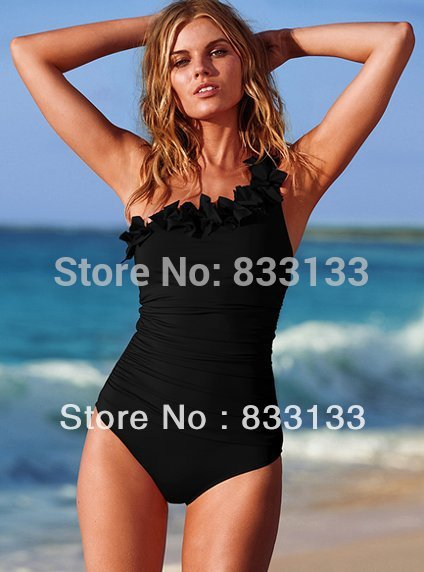 Free shipping, dew back swimwear straps, The old classic design, Lace trim female push up large size swimsuit(China (Mainland))