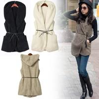 Wholesale 3Pcs/Lot Women's Faux Lamb Fur Long Vest Jacket Ladies Bushy Hoodie Coat With Hat 5colors drop shipping B26 7669