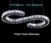 New Design Rectangle LED crystal chandelier lighting large size 57*28cm 3years warranty luxury modern pendant lamp