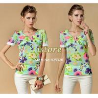 Hot summer cool fashion blouse puff sleeve Floral print chiffon shirt,blouse short sleeve women summer shirt #010 SV003063