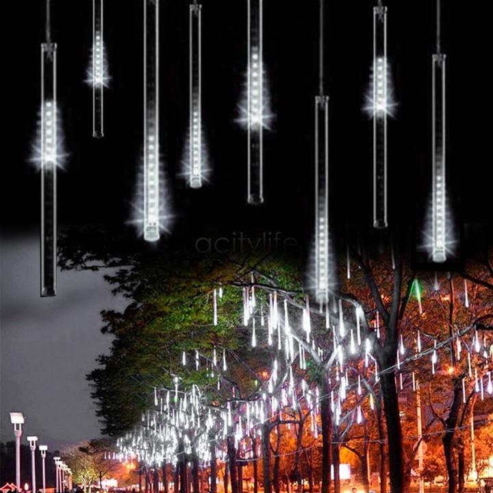 New White 50CM Romantic Meteor Shower Rain Tubes LED Christmas Wedding Garden Decoration String Light 100-240V/EU B16 TK1325(China (Mainland))