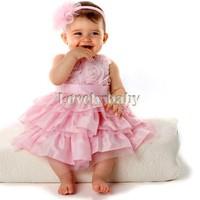 Girls Kids Princess Tutu Dress Pink Layered Lace Flower Vest Tulle Dresses Baby Party Dresses With Headband b8 SV000592