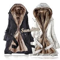 Hot! Faux fur lining women's fur Hoodies Ladies coats winter warm long coat jacket cotton clothes thermal parkas B11 3450