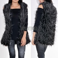 2014 Top Fasion Freeshipping Button Solid Design Female Fox Fur Vest Leather Outerwear Plus Size Women Coat B16 SV006196
