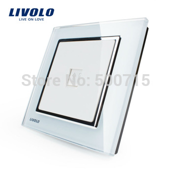 Manufacturer Livolo Free shipping, 100% New Style, Luxury Crystal Glass Panel,VL-W291T-12 Morden Telphone Wall Socket and Plug