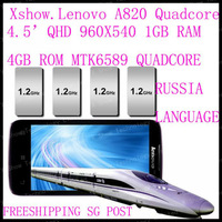free   shipping cn/sg/hk post   Original Lenovo A820 phone Quad-core CPU 4GB ROM 1GB RAM 8.0M Camera 56 language black white