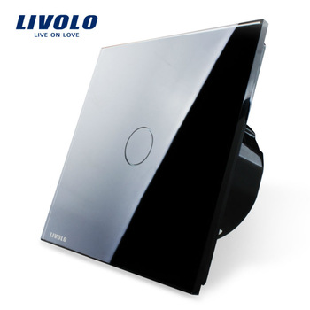 Free Shipping, Livolo EU Standard Touch Switch, VL-C701-12, Black Crystal Glass Switch Panel, Wall Light Touch Screen Switch