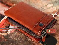 Vintage cowhide designer men's  Leather wallet,Genuine leather purse with detachable pocket and YKK zipper,Fashion Depot]