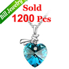 Promotion Free Shipping Blue Crystal Pendant Necklace Fashion Women Wedding Heart Necklace Jewelry 6 Colors