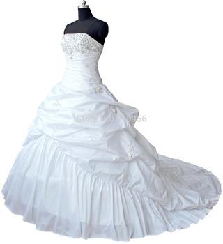 Hot Selling Stock Stylish A-line White/Ivory Taffeta Strapless Bridal Wedding Dress Wedding Gowns 2014 Real Sample