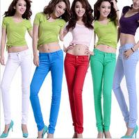 fashion design women sexy pencil pants jeans candy color skinny pants legging overalls elastic trousers boot cut Plus XXXL Size