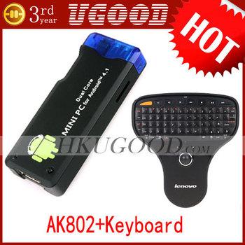 Hot Best AK802 Dual Core RK3066 1GB 1.6GHz Cortex-A9 MK802 III Android Mini PC IPTV HDD Player TV Box +Air Keyboard Freeshipping
