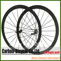 2013 Straight pull 38mm clincher  bike wheelset 700c carbon fiber road racing bicycle wheels
