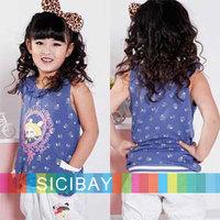 Girls Summer Cute Flower Tshirts Kids Tops,Free Shipping   K0450