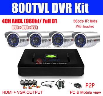 4CH CCTV System AHD(960H) DVR Kit 4pcs 600TVL CCTV Cameras 4ch AHD Full D1 DVR Security Camera System P2P All Cables Included