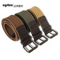 Belt For Men Belts Brand Belt Buckle 100%Cotton Canvas PU Patch  Leather  Pole Button Hight Quality Fit Waist Circle 80-108cm