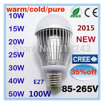 Quality Assurance  LED Bulb Lamp E27  10W 15W 20w 25w 30w 40w 50w 60w  100w  AC85-220V Cold white/warm white Cree freeshipping