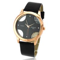 Promotional /1 pcs!! New Designed Men boy Fashion & Casual Skeleton Cross Style Pu Leather Strap Quartz  Watch 4 Colors