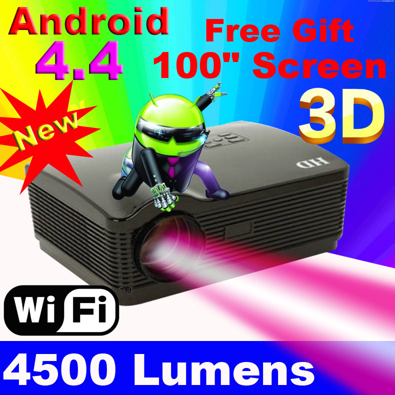 Android wifi 4.1 8g 1280*800 flash full hd 3000 lumen led proyector lcd digital de vídeo del juego portátil 3d smart tv de proyector beamer