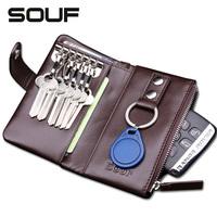 100% cowhide Genuine leather men fashion brand zipper car key wallet chain holder case