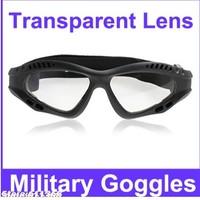Transparent Lens Military Goggles with Practical Design(Black Frame)