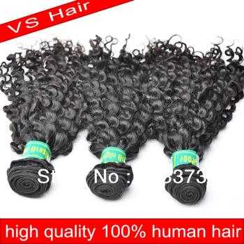 Free Shipping VS kbl Hair extension ,4a Human Virgin Remy Brazilian Hair Weaving , Natural black can dye 3 pcs Lot Mixed Length