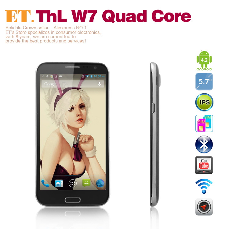 THL W7s Quad core smartphone 5.7 Inch HD IPS1280x720 pixels mtk6589 1.2GHz 1GB RAM 8.0MP Camera