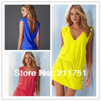 2014 fashion style solid Bikini dress, holiday Beach skirt casual dress free shipping