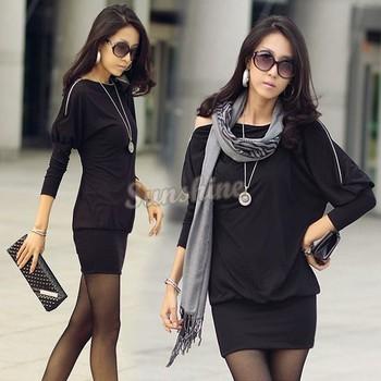 2 Colors Black Green Korea Women's Off-Shoulder Tops Shirt Zip Batwing OL Long Sleeve Dress Free shipping B2# 41