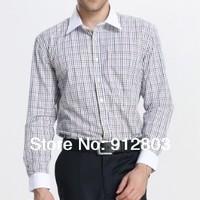 2014 New Famous Brand Business Official Cotton Long Sleeve Logo Plus Size Maxi Shirt  Men's Clothing Tops Vestides XXXL Shirts