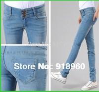New promotion denim pants Women's Jeans/High Waist fashion ladies' Single-breasted Slim Pencil pants XS~XXL trousers/WOB
