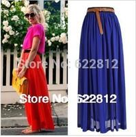 Fashion Women Spring/Summer 2013 Skirts Posed Packet Buttock Chiffon Skirt Pleated Skirt Long Veil Dress Free Shipping No Belt