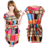 2014 Fashion Women Summer Dress Multi Color Chiffon Plaid Dress Vestidos Geometric Polka Print Casual Party Dresses Plus Size