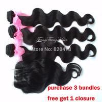 Peruvian virgin hair Body Wave 1pc 3 way part lace closure with 3 bundles hair weft 100% human hair weaves Free Ship
