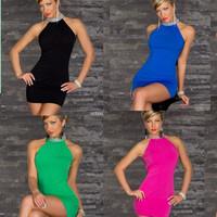 4 color New Fashion Ladies Sexy Paillette Halter Off-shoulder Sheath Mini Open Back Clubwear Women Hip Dress Tight One-piece*D84