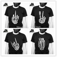 2014 fasion summer men t-shirt  punk rock shirts new skull skeleton tee skeleton fingers disigner original design luminous shirt