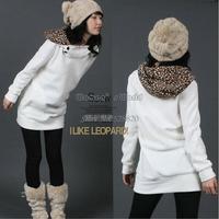2013 hot sale Fashion Korea Cotton Womens Autumn Hoodies Sweatshirts Leopard Top Outerwear Coats 2colors 3283