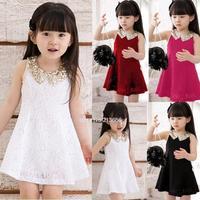 Lovely Girls Dress Summer 2014 Baby Kids Sequins Collar flower Sleeveless Vest Lace Princess Dress Black White Red Rose#3SV00088