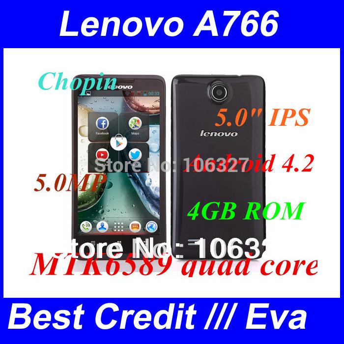 free shipping lenovo A766 Android 4.2 MTK6589m Quad Core 512mb ram 4GB ROM gps 3g mobile phones mulit language google play /Eva(China (Mainland))