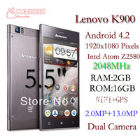 DHL / EMS free shipping Lenovo K900  Phone  2.0GHZ cpu frequency  Intel    2G RAM 16G ROM  Android 4.1  5.5'' AH - IPS Screen