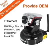 P2P 720P HD Megapixel 1280*720 Pixels SD Card Storage Network IP Camera Wifi Wireless Pan & Tilt H.264 Black KaiCong Sip1205