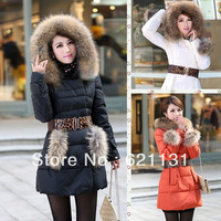 New 2014 The Winter Coat big size  women's thickening pocket down coat fur collar large medium-long down cotton-padded jacket