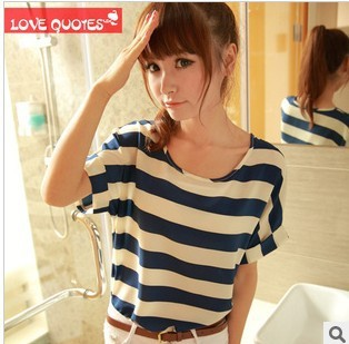 Free shipping 2015 t-shirts for women round neck top and blouses quality summer clothes for female chiffon t-Shirt
