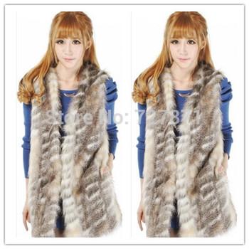 2014  Free shipping Hot selling Women Faux Fur Vest Winter Long Vest Luxury Fur Coat