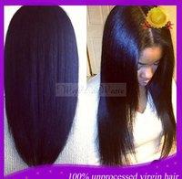 Wholesale Price! Glueless Italian Yaki Straight Full Lace Wigs & Lace Front Wigs 130density  Black Brazilian Human Hair Wigs
